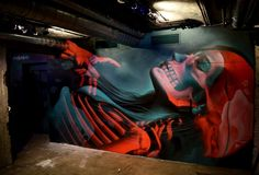 """Insane 51, """"Genesis day 6: The creation of Human"""" X-ray style graffiti for the Genesis project Bizzarre in Barcelona, Spain, 2016"""