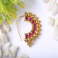 Buy Handcrafted Earrings, Necklaces, Pendants, Anklets, Bangles & Bracelets Online Price from Aadyaa. Shop from a wide collection of designer jewellery. Nath Nose Ring, Nose Ring Jewelry, Jewelry Design Earrings, Gold Earrings Designs, Necklace Designs, Jewelry Art, Nose Rings, India Jewelry, Vanki Designs Jewellery
