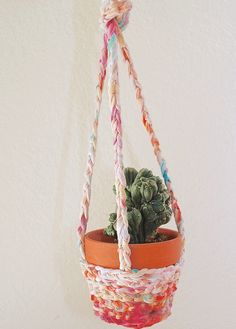 Hot Day, Cool DIY Craft: How to Make an Upcycled T-shirt Yarn Plant Hanger by Jennifer Perkins