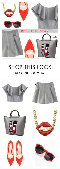 """""""Red and Gray"""" by simona-altobelli ❤ liked on Polyvore featuring Chicwish, Chicnova Fashion and Gianvito Rossi"""