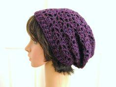 Crochet Slouch Beanie HatEggplantLacy Crochet Hat by RoseJasmine, $20.00
