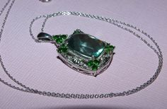 Natural green fluorite and chrome diopside pendant 925 sterling with platinum overlay added bonus chain free shipping on Etsy, $68.00