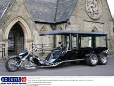 Holy roller: Motorbike lover's coffin carried to church in 24-foot-long trike hearse   Mail Online