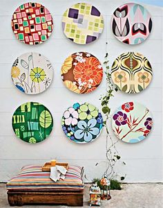 Painted plates. I think I'm going to do this for our dining room!