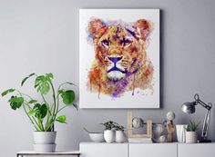#LionessHead #AnimalArt #WatercolorPortrait #Etsy #InstantDownload Watercolor Lion, Watercolor Paintings, Wildlife Decor, Wildlife Art, Moose Decor, Horse Wall Art, Lion Art, Dog Paintings, Printable Art
