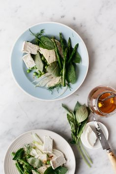 Spring greens and herb salad with fresh goat's cheese