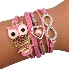 Light Pink Owls and Rhinestones Arm Party Bracelet