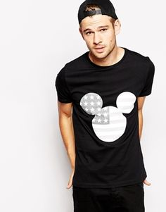 ASOS x MICKEY MOSE DISNEY MENS AW14 T-Shirt With Mickey Mouse Flag Print