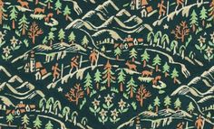 """TILE of a pattern made from the front cover design for the book """"In Praise of Mountains: An Anthology for Friends"""" by Eleanor & Geoffrey Winthrop YoungClick here for more patterns from old book covers"""