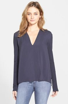 James Perse Draped Deep V-Neck Top available at #Nordstrom