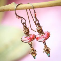 Tea At Midnight. Earrings with Venetian glass Czech by GaiaCopia