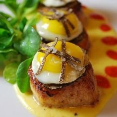 Seared Sea Scallops w/ Sweet Corn Cream, Quail Egg and Black Truffle