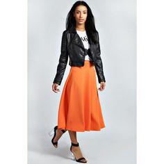 Boohoo Arianna Plain Full Circle Midi Skirt ($20) ❤ liked on Polyvore featuring skirts, orange, orange pleated skirt, pleated midi skirts, pleated skirts, bodycon midi skirt and ribbed midi skirt
