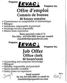 Job Posting for Office Clerk- Demande d'emploi pour commis de bureau  See our website for other jobs! Voir notre site web pour autres postes!  http://www.giag.ca/employment-services/
