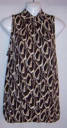 $26.99 Womens Medium Blouse NEW Michael Kors Medium Shirt White and Brown CUTE ~