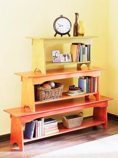 Bench Bookcase What it is: A clever colorful bookcase fashioned from stacked benches. How to make it: Paint graduated benches in coordinating colors. Then stack and fasten benches together. How to Make a Stacked Bench Bookcase Weekend Projects, Home Projects, Do It Yourself Upcycling, Painted Furniture, Diy Furniture, Upcycled Furniture, Diy Casa, Ideas Para Organizar, Home And Deco