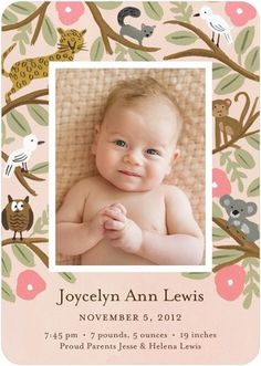 Jungle Menagerie - Girl Photo Birth Announcements - Rifle Paper Co. - Wild Strawberry - Pink : Front