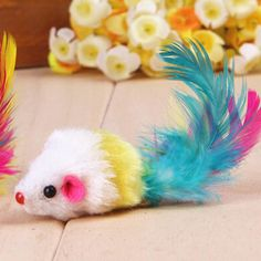 Pet Products For Cats Toys Pet Cat Funny Toys Colorful Mouses Shape With Feather Conejos Mascota