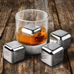 Stainless Steel Cooler Set whisky stone Wine Drinks Cooling Chilling Cube with Plastic Storage Case Tongs chopeira Cafe Bar, Barista, Ice Stone, Scotch, Liqueur, Mountain Dew, Wine And Beer, Metal, Stainless Steel
