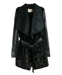 Black PU Leather Splicing Lapel Coat