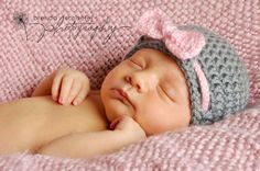 Baby Girl Hat Newborn Girl Hat Photography Prop Knit Crochet Beanie Photo Prop Infant Girl Grey Pink Soft Elegant. $16.00, via Etsy.