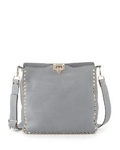V20J4 Valentino Rockstud Pebbled Leather Messenger Bag, Gray