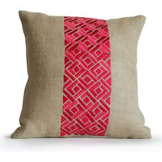 Pink Pillow Cushion Cover Designer Pink Geometric Pillow Fuchsia Ivory... (1,600 INR) via Polyvore featuring home, home decor, throw pillows, decorative throw pillow, throw pillow, fuschia home decor, burlap home decor, pink home decor and geometric home decor