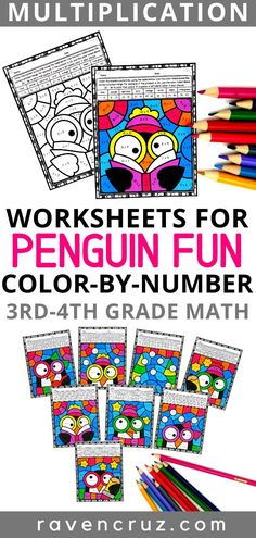 Multiplication color by number worksheets have always been a big hit with my kiddos. These penguin themed worksheets are a creative way for students to practice multiplication facts. Use them in math centers, rotations, for early finishers, in sub tubs, etc. #thirdgrade #fourthgrade #homeschool #mathwithraven