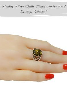 Sterling Silver Amber Celtic Knot Round Ring
