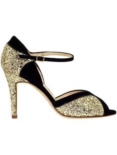 371430e75b4 Kate Spade New York 7 New Black   Gold Glitter Corinne Peep Toe Sandal 7
