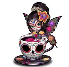 Drawing In 908225001 - Jasmine Becket-Griffith Sugar Skull-Inspired Fairy Figurine - Limited-edition! Handcrafted fairy figurine enchants with Jasmine Becket-Griffith's signature big eyes and crystalline snowflake with a glass gem. La Muerte Tattoo, Sugar Skull Artwork, Sugar Skull Painting, Sugar Skull Drawings, Body Painting, Los Muertos Tattoo, Et Wallpaper, Skull Wallpaper, Fairy Tattoo Designs