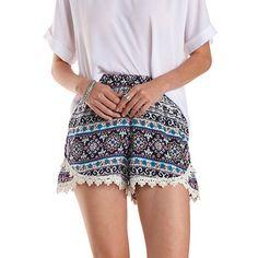 Crochet Trim Boho Print Tulip Shorts
