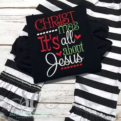 Baby Girl Christmas Outfit It's all about Jesus - Ready to Ship - Girl Christmas Shirt - Santa Picture Outfit