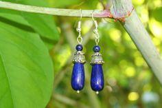 Beautiful Lapis Lazuli Druppel Oorbellen Met Kapje En 4 mm Kraal door EASTERNSOULS op Etsy