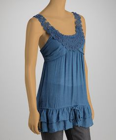 Another great find on #zulily! Royal Blue Lace Yoke Tank #zulilyfinds