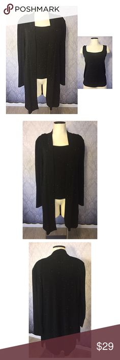 """Sparkly ONYX Nite 2 Piece Very pretty and sparkly ONYX Nite 2 Piece top. It is stretch and slinky. Made form 90% acetate, and 10% spandex.  Measurements based on the tank top. Bust 33"""", length 23"""". Onyx Tops"""