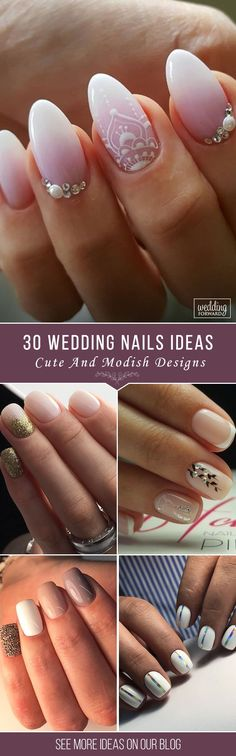 30 Wow Wedding Nail Ideas ❤ Are you dreaming about the perfect bridal look? Don't forget to choose cool design for your nails. You will find in our gallery cute wedding nail ideas. See more: http://www.weddingforward.com/nail-ideas/ ‎#wedding #weddingnails #nailideas