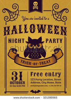 Invitation to Halloween night party. Vintage card with gloomy owl on gold…