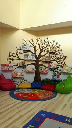 New arrival Crystal Acrylic wall stickers for kids room Tree bird DIY Art wall decor sticker Sofa wall home decoration is part of Classroom - Reading Corner Classroom, Classroom Tree, Kindergarten Reading Corner, Kindergarten Design, Classroom Setup, Future Classroom, Fall Classroom Decorations, School Decorations, School Wall Decoration