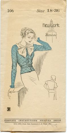 1930s Blouse Pattern New York 106 Button Front Blouse Puff Sleeve Wing Cuffs Peplum NRA Bust 36. $38.00, via Etsy.