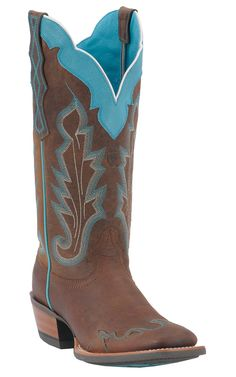 Ariat® Ladies Withered Brown with Turquoise Caballera Square Toe Wingtip Western Boots