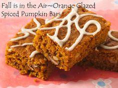 Fall is in the Air~Orange Glazed Spiced Pumpkin Bars