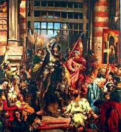 Wjazd Bolesława Chrobrego do Kijowa na obrazie Jana Matejki. Polski król trzyma w ręku legendarny Szczerbiec