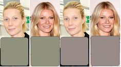 """Gwyneth & her True Colors………Here she is in Light Spring pale Khaki on R, & Light Summer pale Taupe on L. •The khaki just isn't really connecting, other than w/the light sweep of bronzer on her face in the """"no makeup"""" pic. It also makes her look completely washed out. •The khaki on the picture w/makeup makes her bronzer look like dirt on the face. •The light taupe on R makes her lips seem pinker in the no makeup pic, & bronzer seems better blended in the makeup pic (tho it still doesn't belong)."""