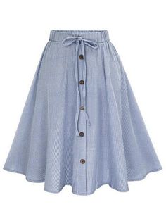 Blue Vertical Striped Buttoned Front Skirt -SheIn(abaday)