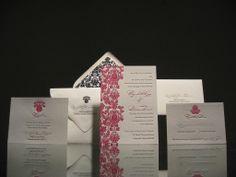 Damask letterpress wedding invitation