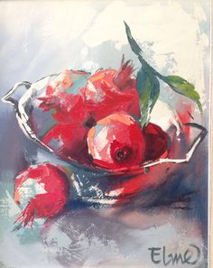 Oil Painting With Texture Fruit Painting, Oil Painting Flowers, Texture Painting, Pomegranate Art, Abstract Canvas Art, Painting Canvas, Watercolor Pictures, Beautiful Paintings, Painting Inspiration