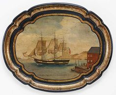 "Painted Tole Tray ""Ship Belisarius"""