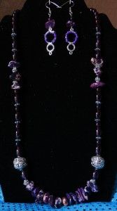 Purple Glass Beads and Stones Necklace