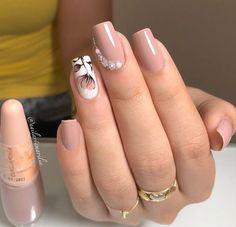 Gem Nail Designs, Short Nail Designs, Nails Design, Nude Nails, My Nails, Acrylic Nails, Gel Nail, Gorgeous Nails, Pretty Nails